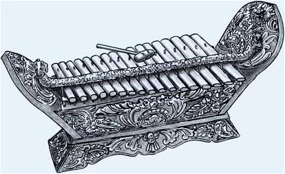 """Trough xylophone (""""gambang"""")"""