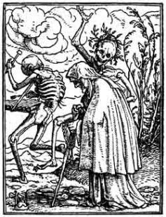 Hans Holbein der Jüngere, Totentanz – Das alte Weib